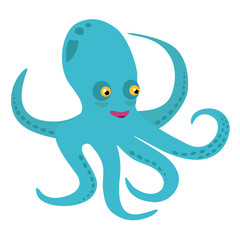 Vector illustration with sea animal - cartoon octopus, ocean cute character, nursery postcard or poster template with sea animal. Isolated image of a octopus.