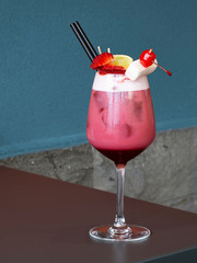 Non alcoholic cocktail drink based on fruit. Strawberry. In cafe.