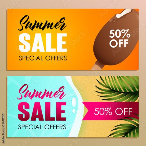 Summer sale banner design with bar of ice cream on orange background