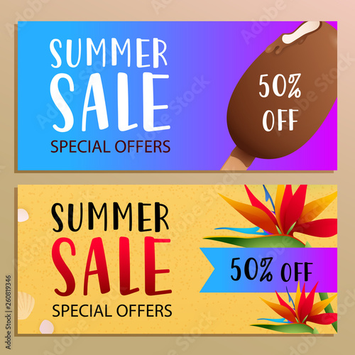 Summer sale banner design with tropical flowers on beach sand