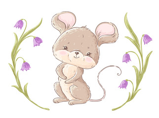 Cute little mouse and bell flowers