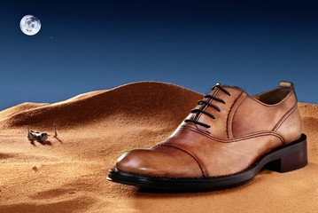 Fashion classical polished men's colour of sand oxford.Creative photo. Concept advertising of shoes in unusual location.Deseert at night