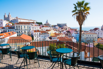 Cityscape view on the old town in Alfama district during the sunny day in Lisbon city, Portugal Fotomurales