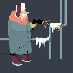 Senior man attempting to thaw frozen pipes with a blow dryer, EPS 8 vector illustration