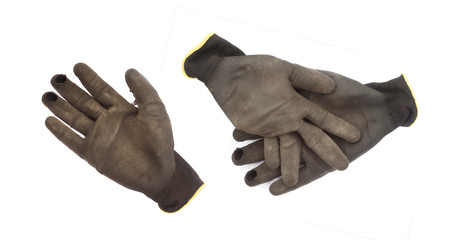 set of hand glove for garden work isolated on white
