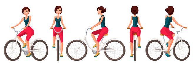 Vector illustration of young woman in casual clothes riding bicycle .Cartoon realistic people illustration.Flat young woman.Front, side and back views. Isometric views. Sportive woman. Training, bike.