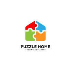 Puzzle Home logo simple line logo template vector illustration - Vector