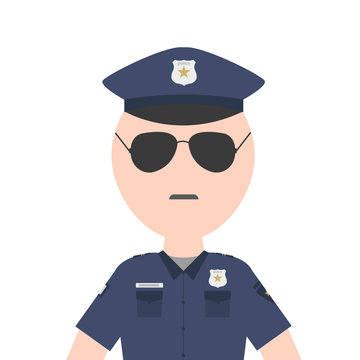 Policeman officer character flat cartoon design , vector illustration avatar icon and sign of police.