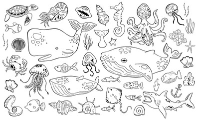 Marine life collection of sketche set. Sea animals.