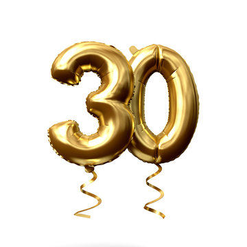 Number 30 gold foil helium balloon isolated on a white background. 3D Render