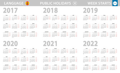 Calendar in Spanish language for year 2017, 2018, 2019, 2020, 2021, 2022. Week starts from Monday.