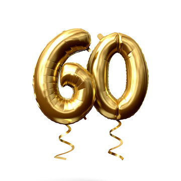 Number 60 gold foil helium balloon isolated on a white background. 3D Render