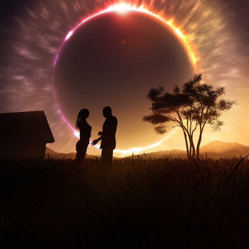 concept art of romantic couple on fantasy sunset with solar eclipse celestial event