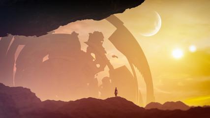 concept art of majestic fantasy landscape with epic monument