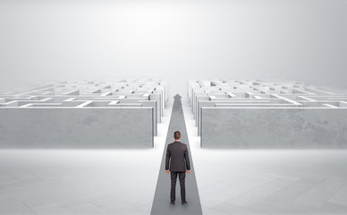 Wall Mural - Businessman going straight ahead on a red carpet arrow between two maze