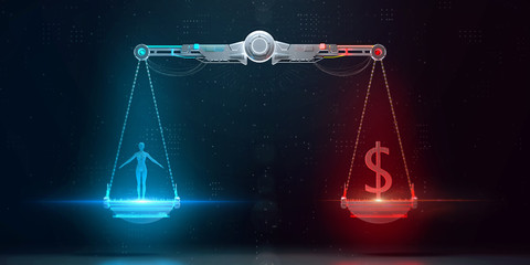cyber digital scales with human on one side and business dollar sign on the other. digital ethics, personal data value, crypto protection and corporate responcibility 3d render