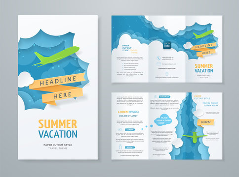 Travel tri-fold brochure with 3d scene with paper cut objects (airplane, clouds, ribbon) on blue background. Vector template with illustration in paper style for design of flyer, booklet and leaflet.