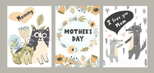 I Love Mom cards set with cute animals. Hand drawn vector illustrations for posters, cards, t-shirts