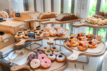 A variety of freshly made pastry in breakfast buffet at luxury hotel.