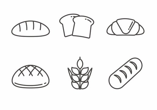 Set of bread icon with outline design. Bread vector illustration
