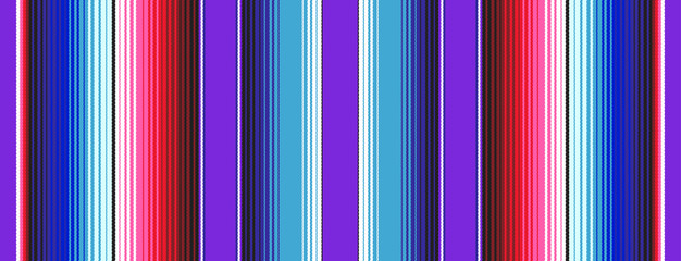 Purple Blue Red Pink Mexican Blanket Serape Stripes Seamless Vector Pattern. Rug Texture with Threads. Background for Cinco de Mayo Decor or Mexican Food Restaurant Menu. Pattern Tile Swatch Included.