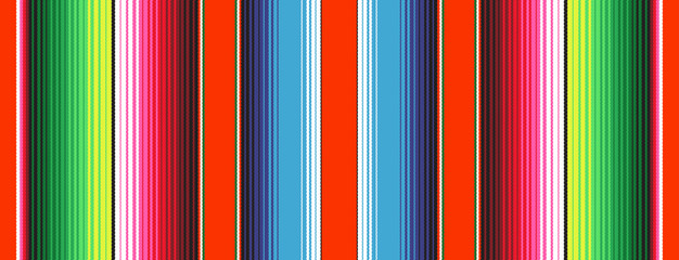 Red Green Blue Mexican Blanket Serape Stripes Seamless Vector Pattern. Rug Texture with Threads. Background for Cinco de Mayo Party Decor or Mexican Food Restaurant Menu. Pattern Tile Swatch Included Wall mural