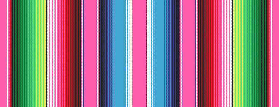 Pink Blue Green Mexican Blanket Serape Stripes Seamless Vector Pattern. Rug Texture with Threads. Background for Cinco de Mayo Party Decor or Mexican Food Restaurant Menu. Pattern Tile Swatch Included