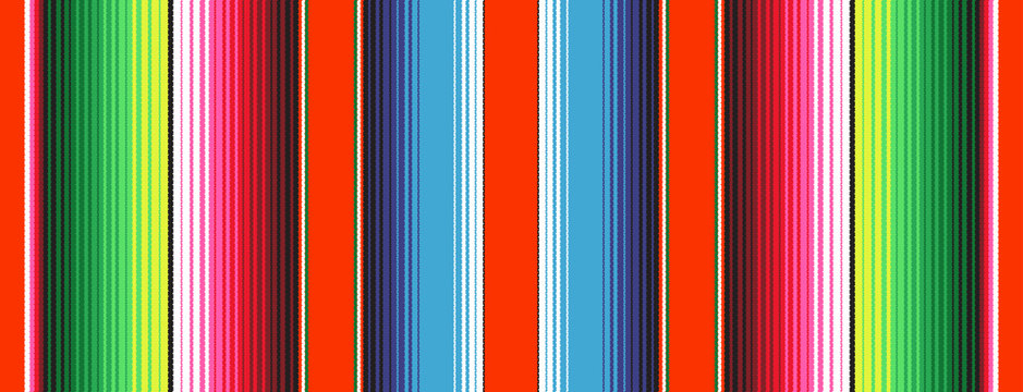 Red Green Blue Mexican Blanket Serape Stripes Seamless Vector Pattern. Rug Texture with Threads. Background for Cinco de Mayo Party Decor or Mexican Food Restaurant Menu. Pattern Tile Swatch Included