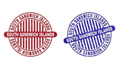 Grunge SOUTH SANDWICH ISLANDS round stamp seals isolated on a white background. Round seals with grunge texture in red and blue colors.