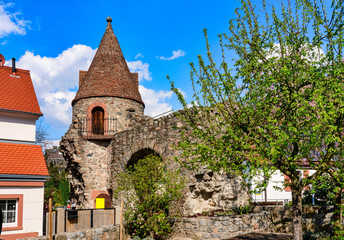 The Aul, the only preserved city wall tower in Zwingenberg on the Bergstrasse in Hesse.