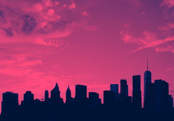 New York City skyline buildings and empty sky in pink and blue