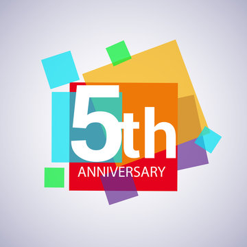 5th anniversary logo, vector design birthday celebration with colorful geometric isolated on white background.