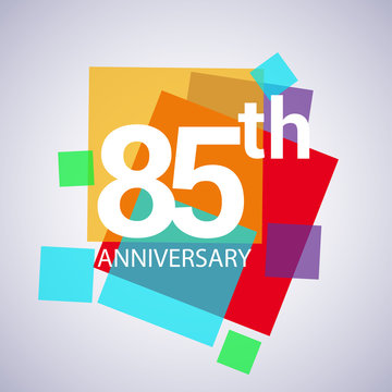 85th anniversary logo, vector design birthday celebration with colorful geometric isolated on white background.