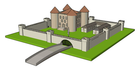 Medieval castle with fortified wall and towersand bridge vector illustration on white background