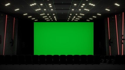Cinema interior of movie theatre with blank movie theater screen with green screen and empty seats. Movie entertainment concept. 3D Rendering