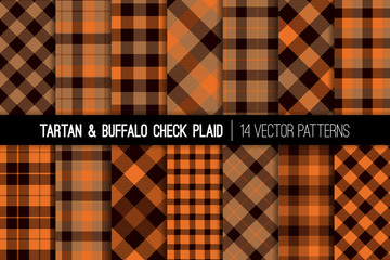 Orange, Brown and Beige Tartan and Buffalo Check Plaid Vector Patterns. Hipster Lumberjack Flannel Shirt Fabric Textures. Fall Winter Fashion. Father's Day Background. Pattern Tile Swatches Included.