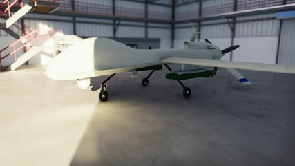 Military drone stands in his hangar on a Sunny day. 3D Rendering Wall mural