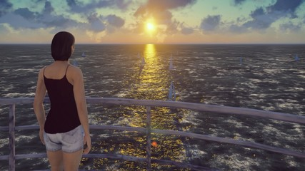 The girl stands on the old lighthouse and admires the sunrise and sailboats. 3D Rendering