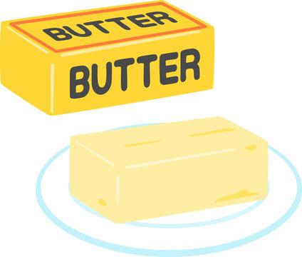 バターのパッケージと皿に載せたバター