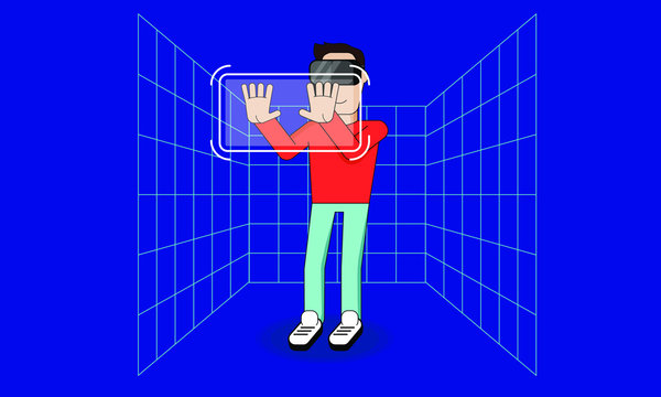 Man using headset interacting with VR interface. Virtual Reality space vector