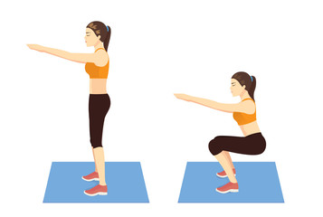 Exercise guide by Woman doing air squat in 2 steps in side view for strengthens entire lower body. Illustration about workout.