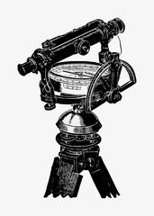 Antique compass and telescope