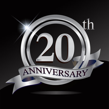 20th anniversary logo with silver ring and ribbon. Vector design template elements for your birthday celebration.