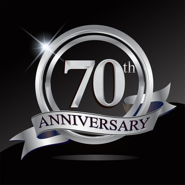 70th anniversary logo with silver ring and ribbon. Vector design template elements for your birthday celebration.