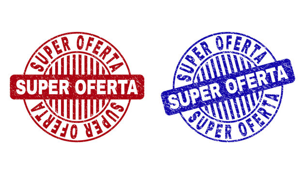 Grunge SUPER OFERTA round stamp seals isolated on a white background. Round seals with grunge texture in red and blue colors. Vector rubber imprint of SUPER OFERTA tag inside circle form with stripes.