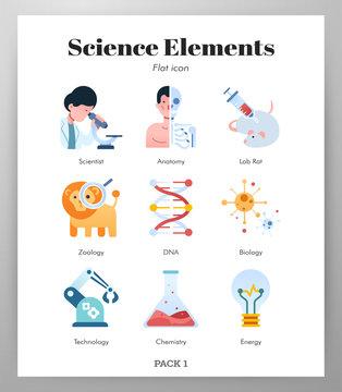 Science elements flat illustration