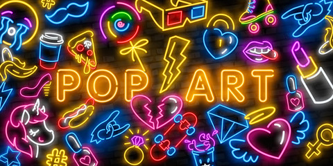 Pop art icons set. Pop art neon sign. Bright signboard, light banner. Neon isolated icon, emblem. Heart, diamond, pizza, smile, hand, ice cream, star, donut and unicorn vector neon icon