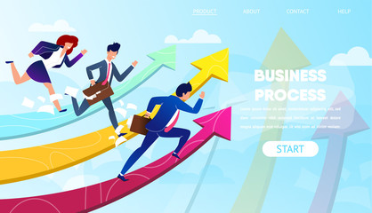 Business People Run to Success on Growing Arrows.