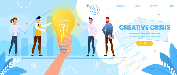 Creative Crisis. People Stand at Huge Light Bulb.