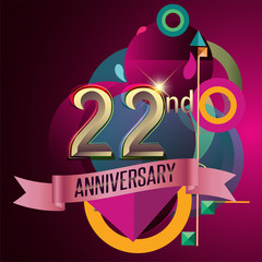 22nd Anniversary, Party poster, banner and invitation - background geometric glowing element. Vector Illustration